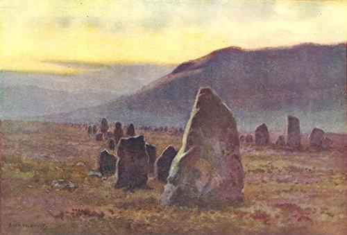 Stone Avenue, near Merrivale, Dartmoor. Devon. By Ernest Haslehust - 1920 - old print - antique print - vintage print - Devon art prints