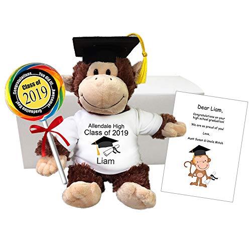 Graduation Monkey Gift Set - 12 Inch Personalized Class of 2019 Plush Chimp Grad Gift -