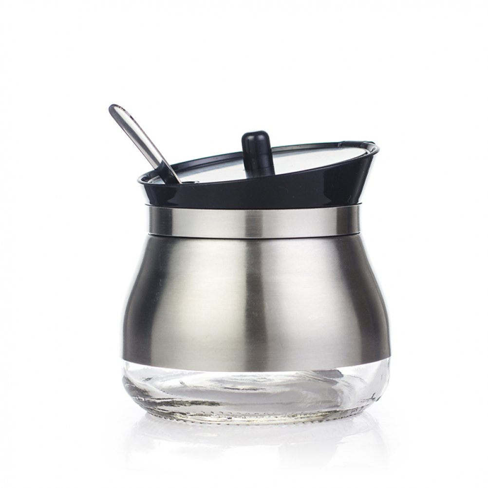 304 Stainless Steel Sugar Bowl Set Sugar Dispenser with Lid Serving Spoon Flip Salt Pot Pepper Storage Jar Seasoning Pot Container Sugar Box Condiment Spice Racks Holder,Black