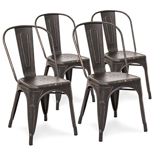 Best Choice Products Set of 4 Distressed Industrial Metal Dining Side Chairs (Bronzed Black) Distressed Bronzed Metal