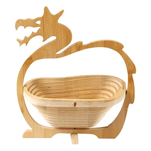WHAT ON EARTH Dragon Shaped Fruit Bowl - Folding Collapsible Bamboo Wood Basket
