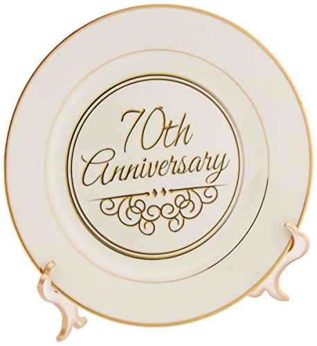 3dRose cp_154512_1 70th Gold Text for Celebrating Wedding Anniversaries-70 Years Married Together-Porcelain Plate, 8-Inch