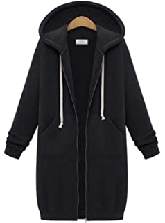 Lu&lu Women Stylish Zip Up Hooded Sweatshirt Dress Long Coat Solid Outwear Plus Size S