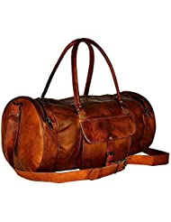 22 Genuine Leather Mens Duffel Gym Sports Travel Weekend Carry on Luggage Bag