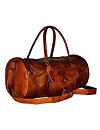 """22"""" Genuine Leather Mens Duffel Gym Sports Travel Weekend Carry on Luggage Bag"""