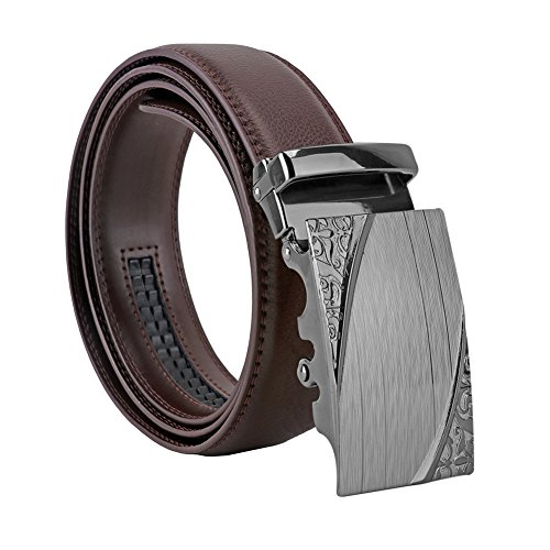 Men's Genuine Leather Belt Designer Belts for Men Ratchet Dress Belt 35mm Wide with Automatic Solid Buckle in A Fashion Box (Brown 130cm/51in, Silver 300601)
