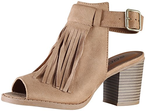 Soda Womens Oxford Fringe Tassel Peep Toe Buckle Slingback Bootie Shoes