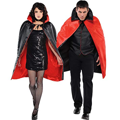 AMSCAN Black & Red Reversible Vampire Cape Halloween Costume Accessories for Adults, One Size
