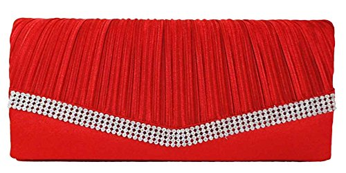 Chicastic Red Pleated Satin Wedding Evening Bridal Clutch Purse With Rhinestones