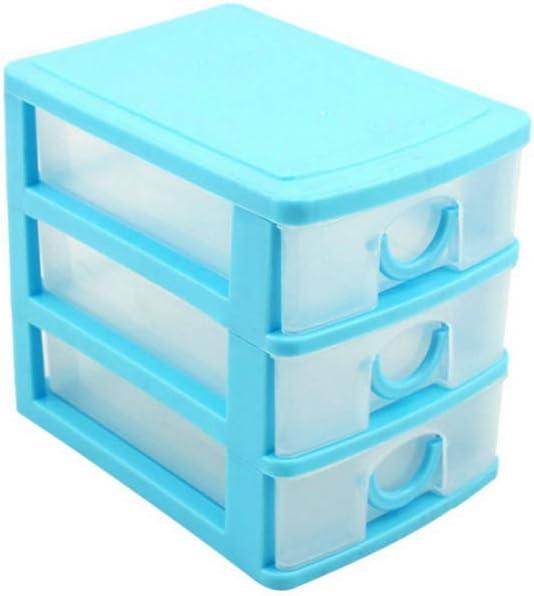 haoun 3-Tier Mini Desktop Organizer Drawer Type Storage Box - Blue