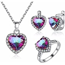 Set Joyeria Anillos Aretes Cadenas y Collar De Mujer Pink Stone Pendant Necklace Earrings and Ring Jewelry Set for Women CO0012