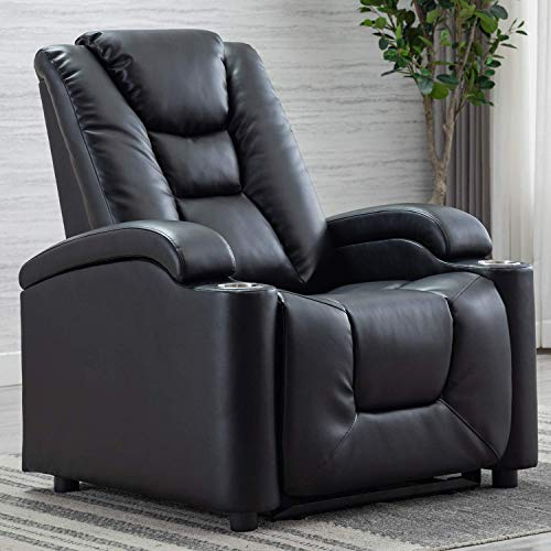 Breathable Bonded Leather Electric Power Recliner Chair with USB Port and Cup Holders, Adjustable Headrest Single Home Theater Recliner, Black