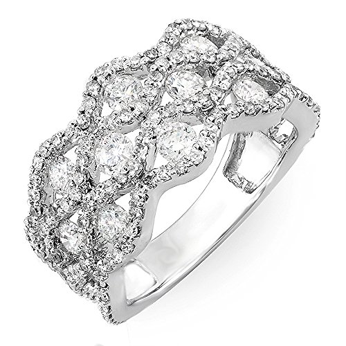 2.00 Carat (ctw) 14k White Gold Round Diamond Ladies Cocktail Right Hand Ring 2 CT