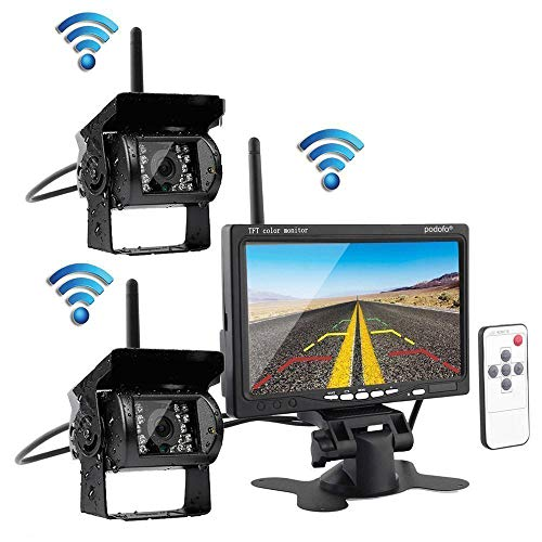 Podofo Wireless Vehicle 2 x Backup Cameras Parking Assistance System Ir Night Vision Waterproof Rear View Camera + 7
