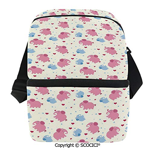 SCOCICI Collapsible Cooler Bag Cheerful Cute Kids Pattern with Red Hearts and Blue Dots Cartoon Style Lovely Zoo Insulated Soft Lunch Leakproof Cooler Bag for Camping,Picnic,BBQ