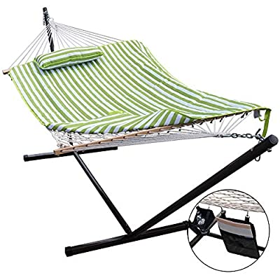 Lazy Daze Hammocks 12 Feet Space Saving Steel Hammock Stand with Cotton Rope Hammock Combo, Includes Quilted Polyester Hammock Pad, Pillow, Mag Bag and Cup Holder, Green Stripe - Bed dimensions: 78 x 52 inches (overall length: 122 inches); Support up to 275 pounds Includes a quilted reversible striped polyester pad and a comfy reversible head pillow with polyethylene stuffing tied securely Handcrafted polyester ropes add character and authenticity, and thickness of the end cords contribute greatly to the balance and strength of the hammock - patio-furniture, patio, hammocks - 51puVL9ebbL. SS400  -