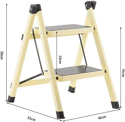 AOLI Escalera de 2 peldaños, escalera de mano plegable de acero resistente Mini escalera portátil compacta con tapete antideslizante para cocina doméstica-marrón 51X40X58Cm (20X16X23 pulgadas),Amaril: Amazon.es: Bricolaje y herramientas