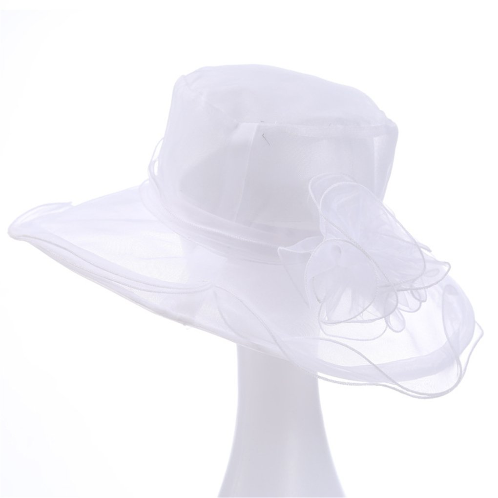 Ladies Kentucky Derby Church Hat Wide Brim Flower Wedding Dress Cap Sun Hats