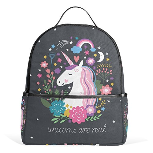 DEYYA Lightweight Unicorn School Backpack for Women Girls Teens Kids