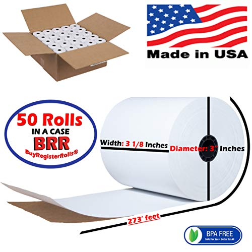(50) 3-1/8 x 273' Thermal Paper Rolls Star Micronics TSP 100 300 500 600 700 CT-S300 BPA FREE MADE IN USA From BuyRegisterRolls