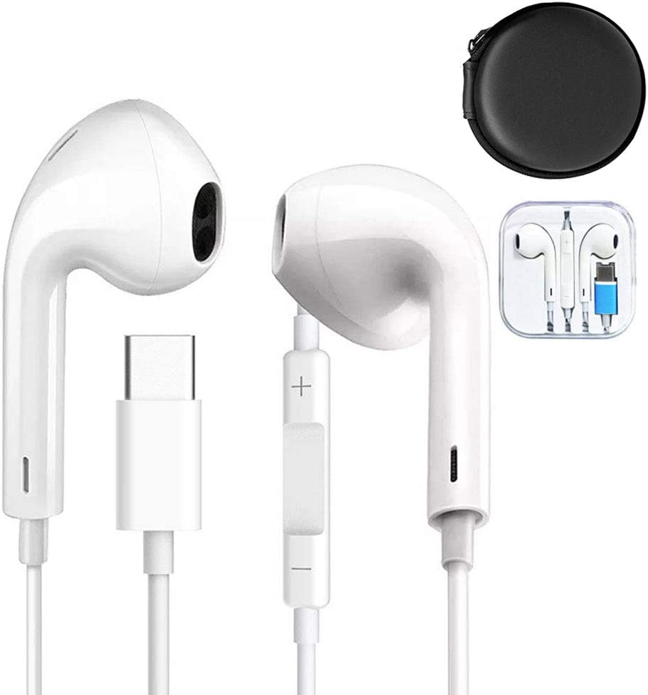 Type C Digital Earphones, Huifen Wired Earbuds HiFi Stereo Bass Headphones, USB C in-Ear Gym Sports Headsets Compatible with HTC, Huawei, Sony Xperia, OnePlus, Essential Phone, Razer etc (White)