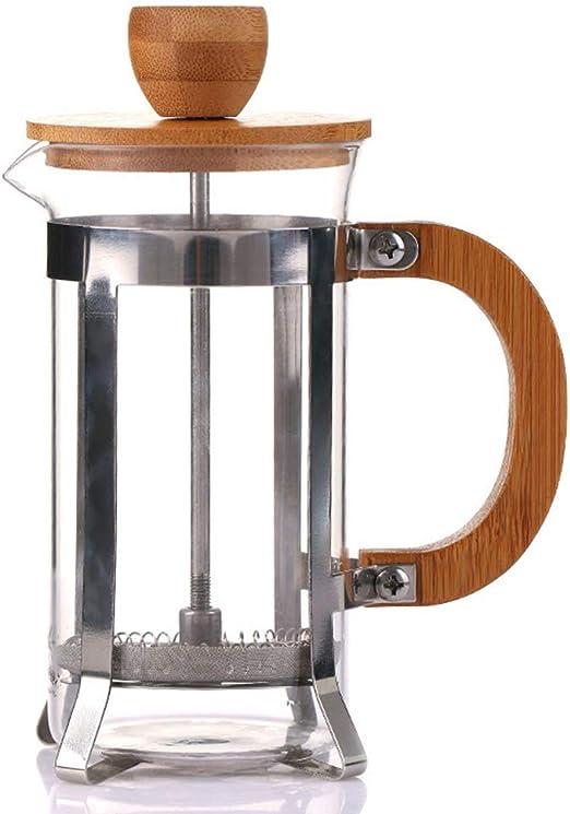 Cafetera de prensa con tapa de bambú, émbolo de acero inoxidable y ...