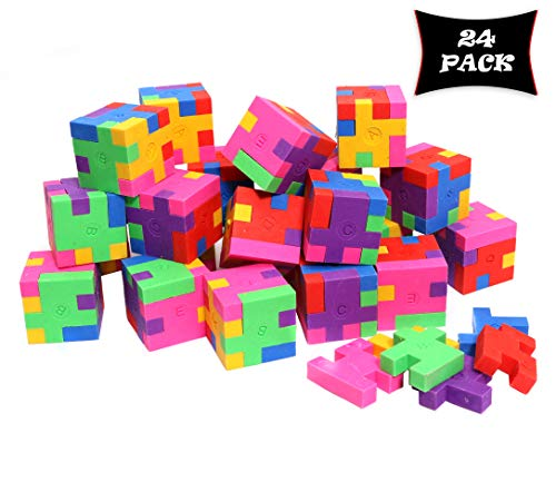 Smart Novelty Cube Puzzle Erasers for Kids School Supplies and Party Favors - Bulk Pack of 24 Colorful Mini Geometric Erasers ()