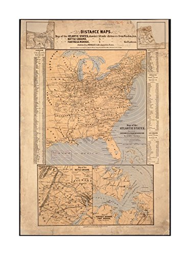 1861 Map: Atlantic States, showing distances from Washington (in bee line) by 50 mile circles Relief shown by hachures (ancillary Maps).Includes population tables.Manassas (independent - Outlets City Map Atlantic