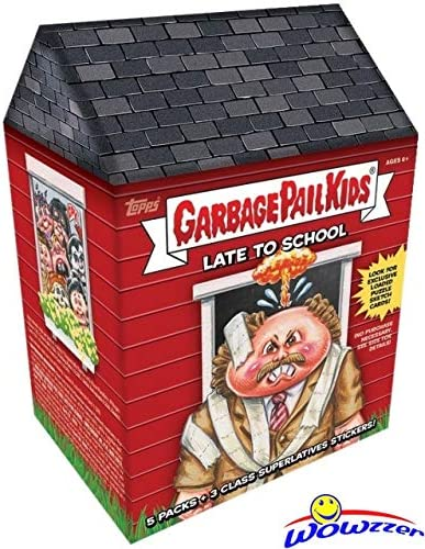 B0845ZSZDZ 2020 Topps Garbage Pail Kids Series 1 LATE TO SCHOOL EXCLUSIVE Factory Sealed Value Box with Special CLASS SUPERLATIVES BONUS STICKERS! Look for Autographs, Sketch Cards & Printing Plates! WOWZZER! 51puWYWOxtL