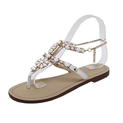 c2edad944ba4b3 Image Unavailable. Image not available for. Color  Women Boho Sandals  Rhinestone T Strap Sandals Chain ...