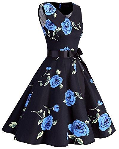 Bridesmay Flower Audrey  50 Anni Retro Abiti Vintage neck V Blue Vestito  Donna Cocktail rrgqx7zT 1d3b62f129f