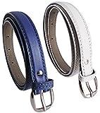 Krystle Women's Combo Set Of 2 PU leather belts Blue & White)