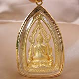 Phra Phuttha Chinnarat Famous Thai Buddha Gold Crystal Pendant PPCC01