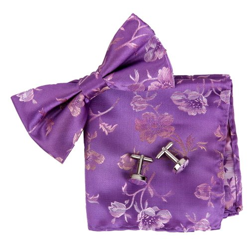 Mens Accessories Silk - BT2134 Purple Patterned Formal Wear Young Accessories Silk Pre-tied Bowtie Cufflink Hanky Father Set By Epoint