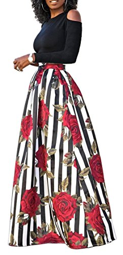 Delcoce Women's Two Piece Off-Shoulder Tops Floral Print Long Circle Skirt With Pocket L