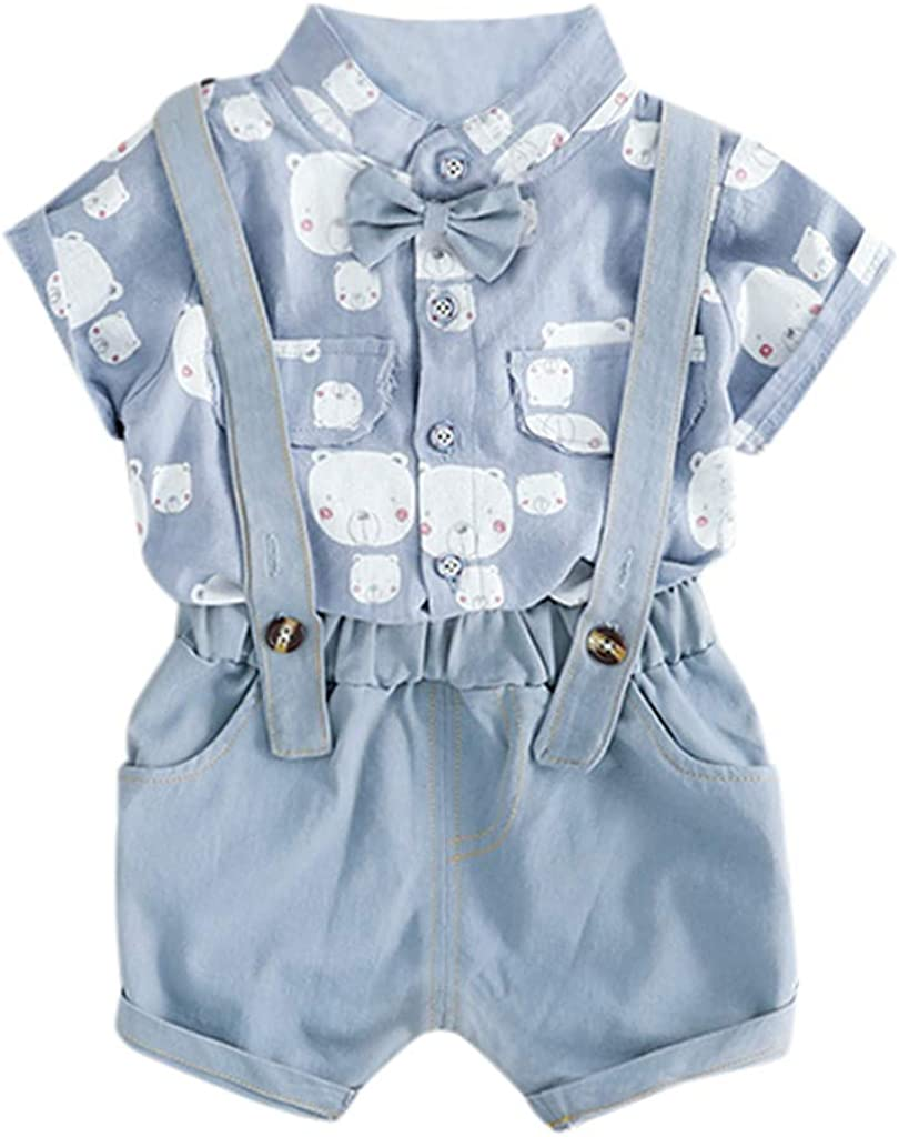 Suspenders Shorts Handsome Summer Cartoon Outfits Pocket Toddler Baby Boys Overalls Set Kids Gentleman Ties Shirts