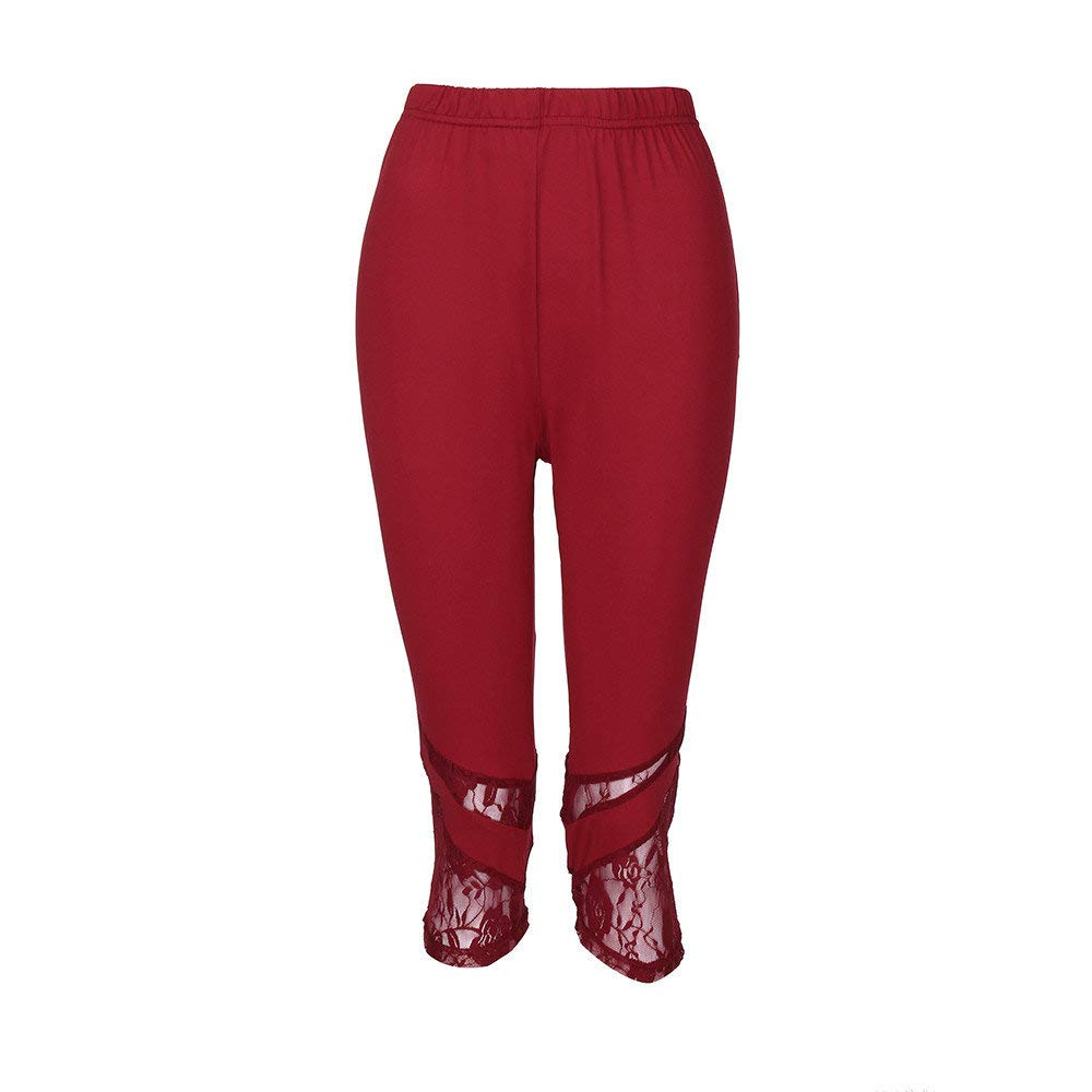 Dressin Women' Plus Size Yoga Leggings, Lace Skinny Sport Pants Exercise Trousers Solid Color Sport Pants for Women Red by Dressin (Image #5)