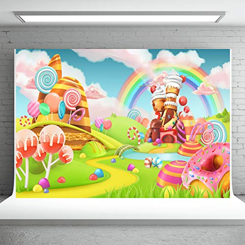 Sweet Candy Land Backdrops Lollipop Cartoon Game Background for Photography Rainbow Baby Birthday Party Background 7X5FT