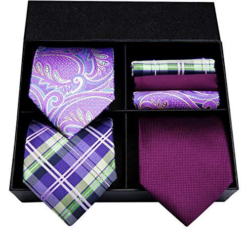 Hi-Tie Classic Men's Purple 100% Woven Silk Tie NeckTies Set Pack Of - Tie 100%