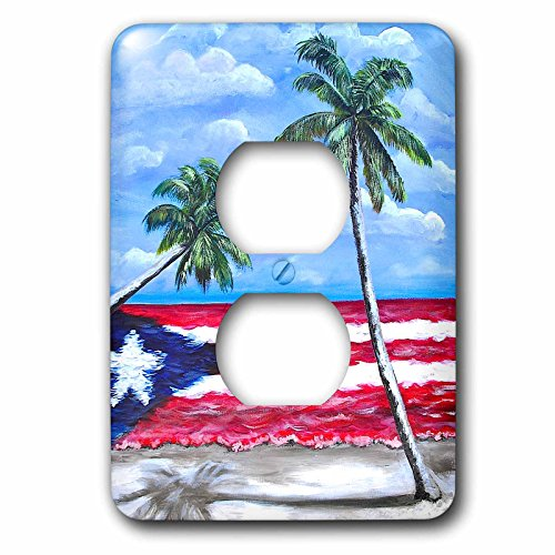 Melissa A. Torres Puerto Rican Art - Palm trees and Puerto Rican Flag - Light Switch Covers - 2 plug outlet cover -