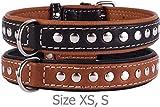 Leather Dog Collar - CollarDirect Handmade Studded Dog Collar, Genuine Leather Collar for Dogs, Soft Padded Leather Puppy Collar Brown Black Small Medium (Black, Neck fit 11