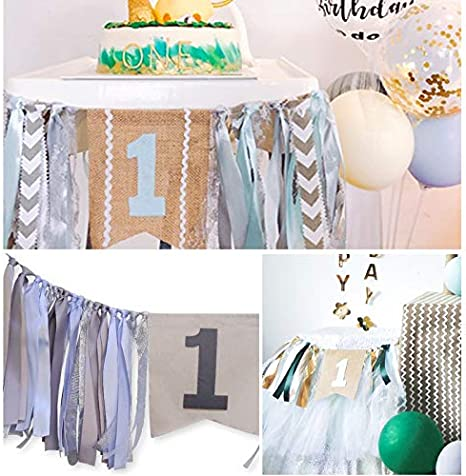 WINGOFFLY First Birthday Burlap Highchair Banner Bunting 1st Happy Birthday Party Decorations Set for Baby Navy Blue
