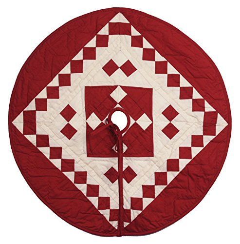 Red Diamond Square Quilted Christmas Tree Skirt 24 Inches...