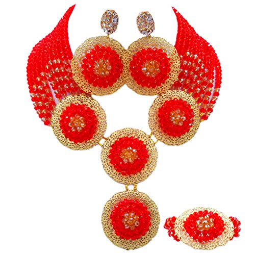 aczuv African Beads Jewelry Set 2017 Nigerian Wedding Necklace and Earrings for Women