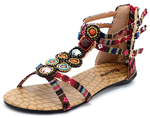 Odema Summer Bohemian Beaded Floral Flat Womens Beach Thong Sandals XZ0065WC WineRed -