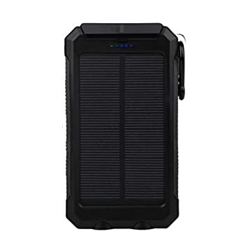 Tomasa Batería Externa Solar Batería de Emergencia Cargador Solar a Prueba de Agua 20000mAh con 2 Puertos USB Brújula y Antorcha LED para iPhone X / ...