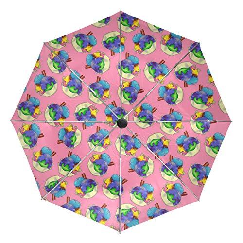 Chocolate Mint Ice Cream Compact Travel Umbrella - Windproof, Reinforced Canopy, Ergonomic Handle, Auto Open