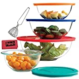 Kyпить 8-Piece Glass Mixing Bowls With Lids | Glass Food Storage Containers | Dishwasher, Oven and Microwave Safe, Clear - Bundled with French Whisk & Cloth на Amazon.com