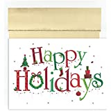 "Great Papers! Holiday Greeting Card, Happy Holidays, 18 Cards/Foil-Lined Envelopes, 7.875"" x 5.625"" (869800)"