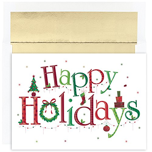 Great Papers! Holiday Greeting Card, Happy Holidays, 18 Cards/Foil-Lined Envelopes, 7.875